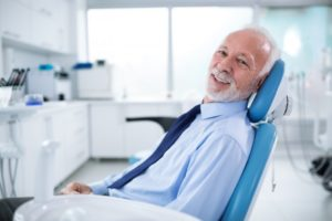 Mature male patient at dental appointment
